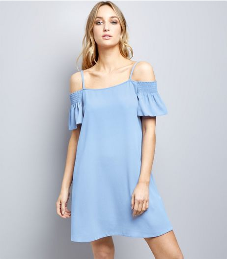 Light Blue Shirred Cold Shoulder Slip Dress | New Look