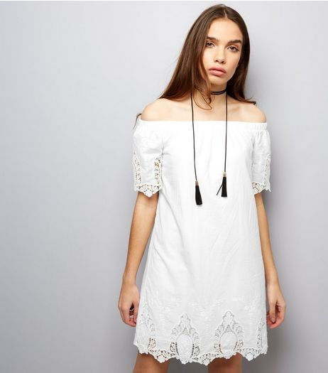 Parisian White Embroidered Lace Trim Bardot Neck Dress | New Look