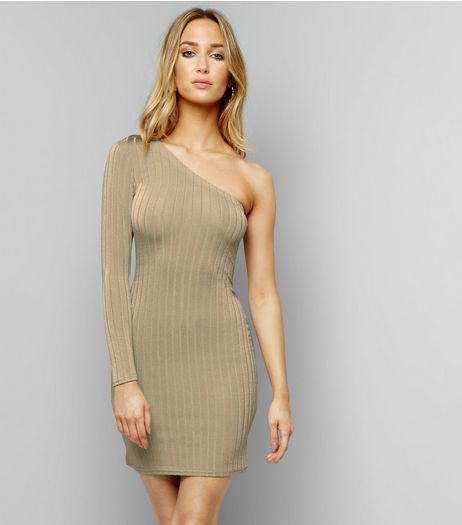 Khaki Ribbed Off the Shoulder Bodycon Dress | New Look
