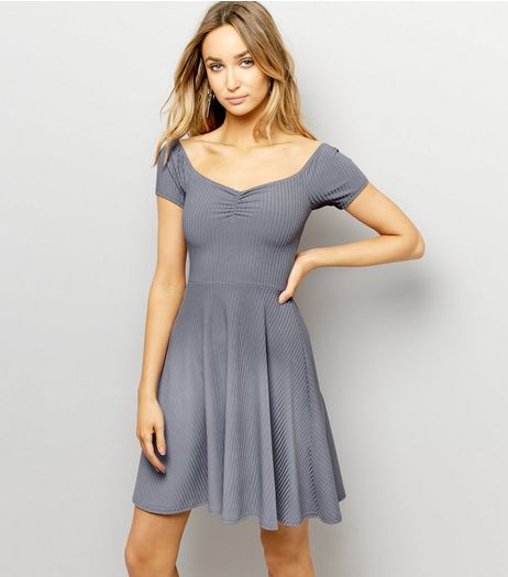 Grey Ribbed Bardot Neck Skater Dress  | New Look