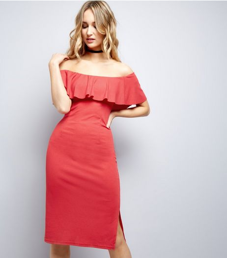 Red Frill Trim Bardot Neck Midi Bodycon Dress | New Look