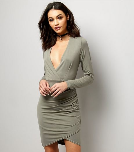 Khaki V Plunge Neck Ruched Side Wrap Front Dress | New Look