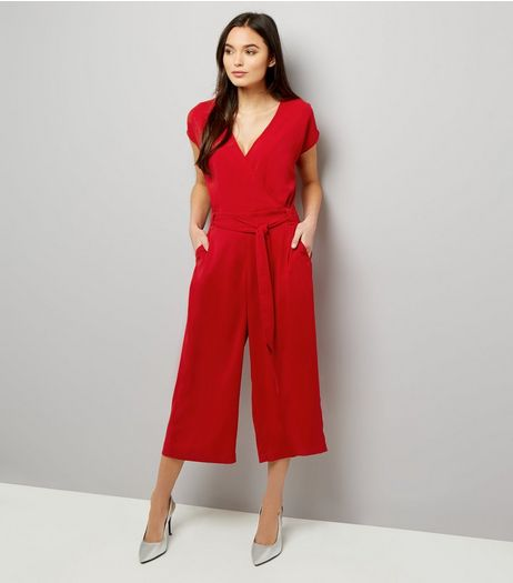 Red Wrap Front Culotte Jumpsuit  | New Look