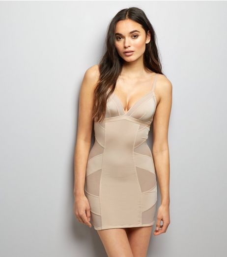 Nude Mesh Panel Shaping Slip | New Look