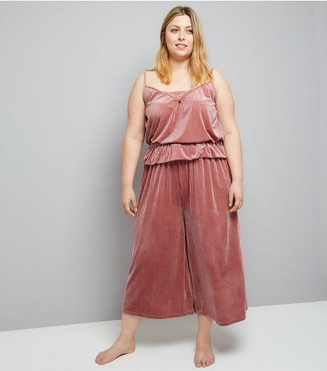 Curves Pink Ribbed Velvet Cami And Culotte Pyjama Set | New Look