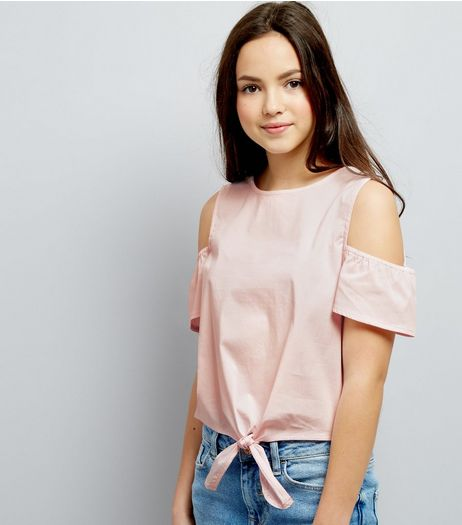Teens Pink Cold Shoulder Tie Front Top | New Look