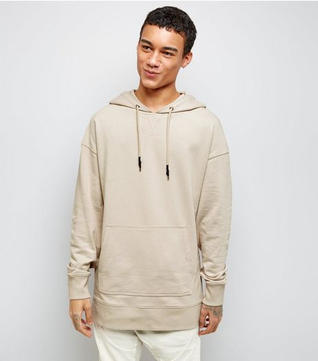 Stone Dropped Shoulder Longline Hoodie | New Look