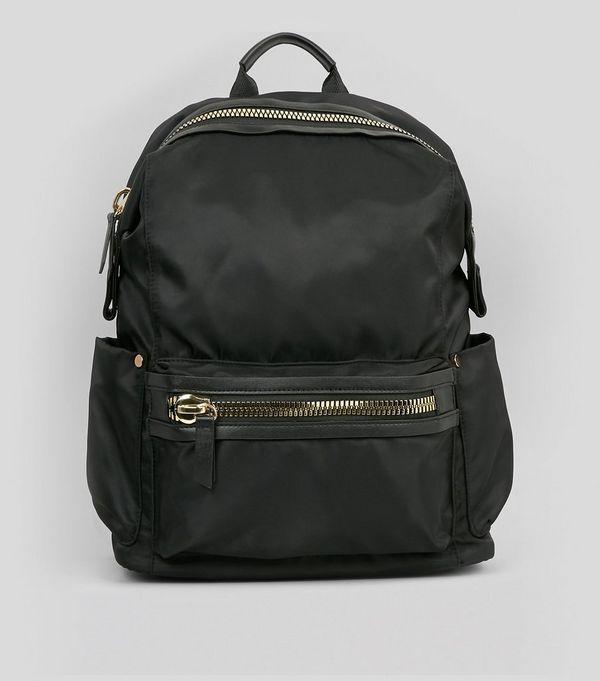 Black Chunky Zip Backpack