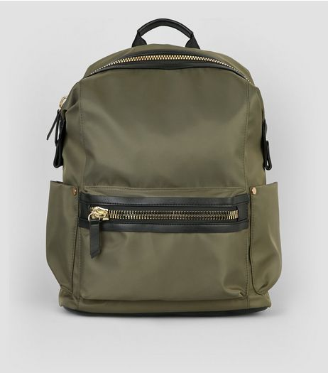 Khaki Chunky Zip Backpack | New Look