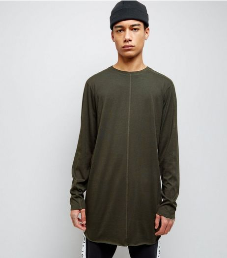 Khaki Seam Front Longline Long Sleeve T-Shirt | New Look