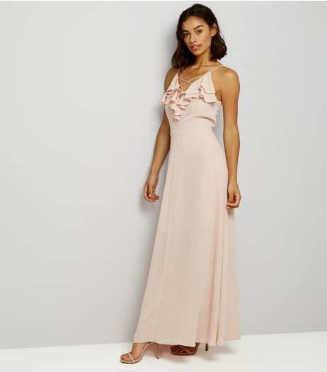 Petite Shell Pink Frill Trim Cross Strap Maxi Dress | New Look