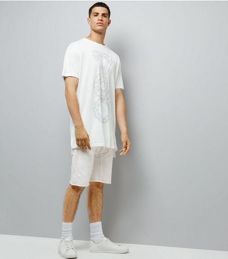 White Panelled Drop Crotch Jersey Shorts | New Look