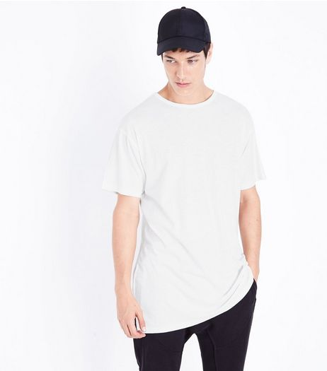 White Split Hem T-Shirt | New Look