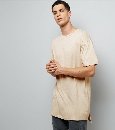 Stone Split Hem Longline T-Shirt | New Look
