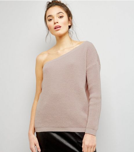 Shell Pink Off the Shoulder Jumper  | New Look