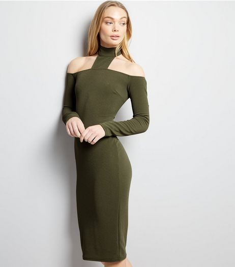 AX Paris Khaki High Neck Midi Dress  | New Look