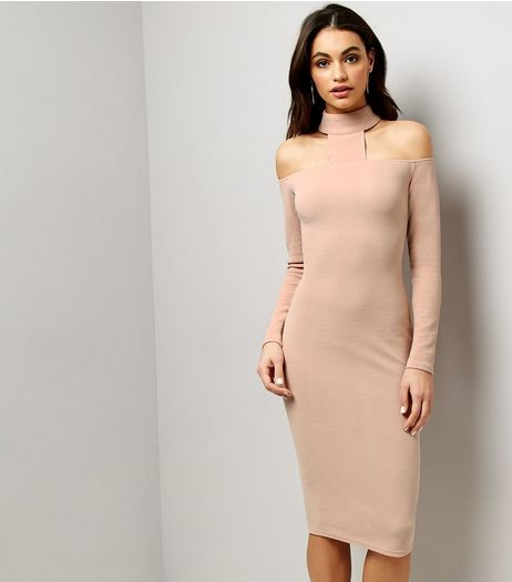 AX Paris Pink High Neck Midi Dress  | New Look