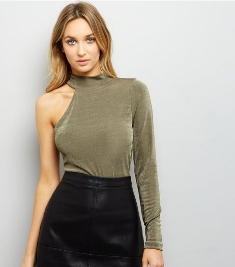 Khaki Funnel Neck Off the Shoulder Metallic Top  | New Look