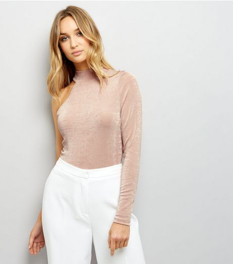 Shell Pink Funnel Neck Off the Shoulder Metallic Top  | New Look