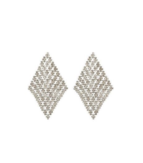 Silver Crystal Diamond Chain Mail Earrings | New Look