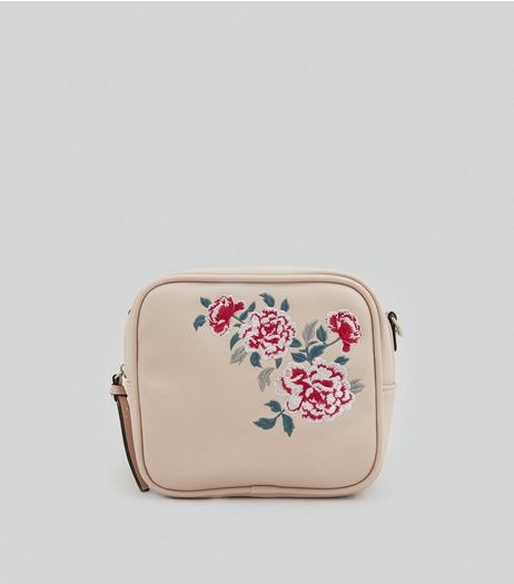Nude Pink Floral Embroidered Cross Body Bag | New Look