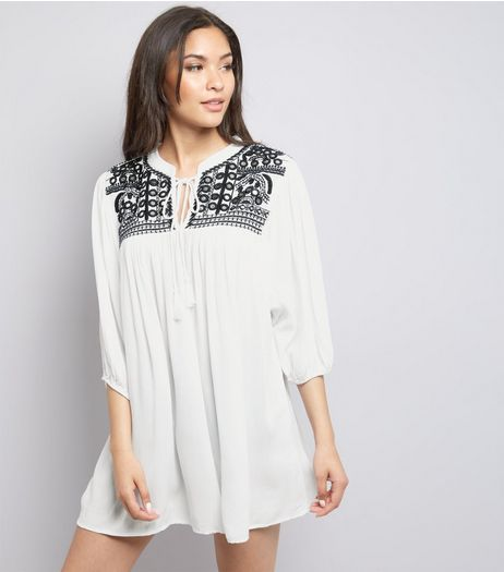QED White Embroidered Panel Tunic  | New Look