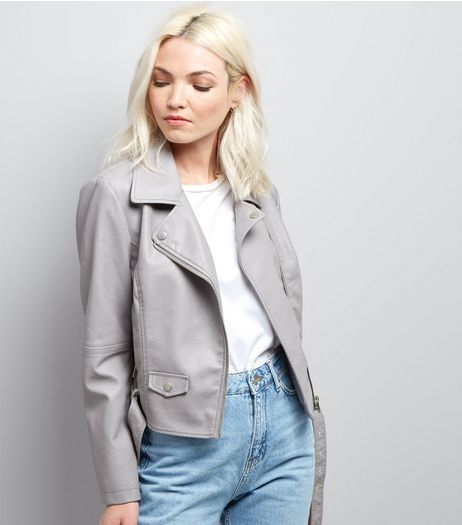 Petite Grey Leather-Look Biker Jacket | New Look