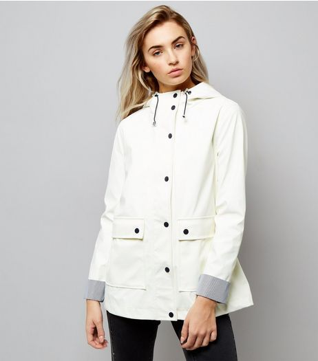 Petite White Stripe Trim Anorak | New Look