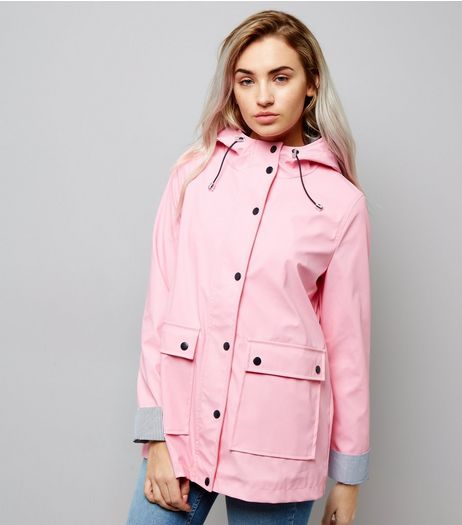 Petite Pink Stripe Trim Anorak | New Look
