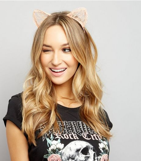 Shell Pink Lace Cat Ears Headband | New Look