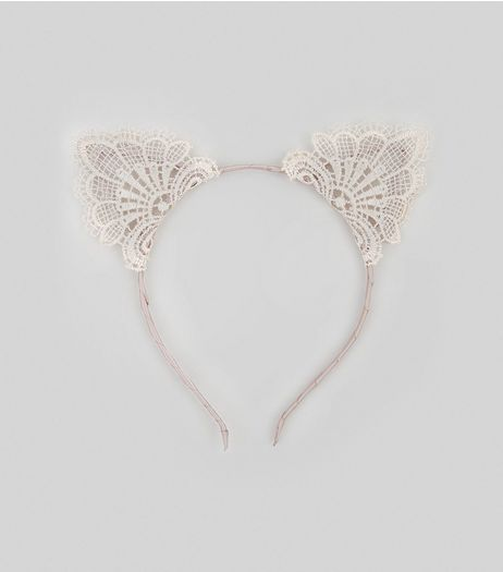 Shell Pink Lace Cat Ear Headband | New Look