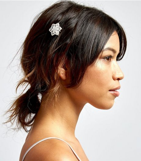 2 Pack Silver Crystal Flower Hair Brooches | New Look