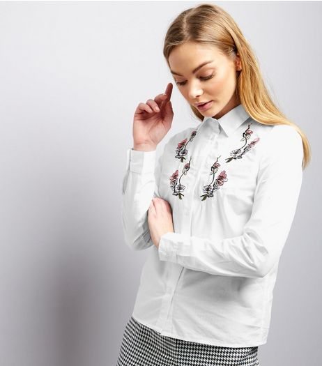 Innocence White Floral Embroidered Long Sleeve Shirt  | New Look