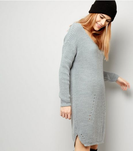 Loving This Grey Ladder Knit Jumper Dress | New Look