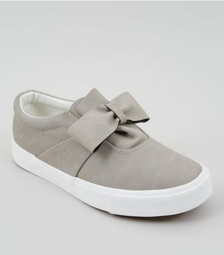 Grey Suedette Bow Front Slip On Trainers | New Look