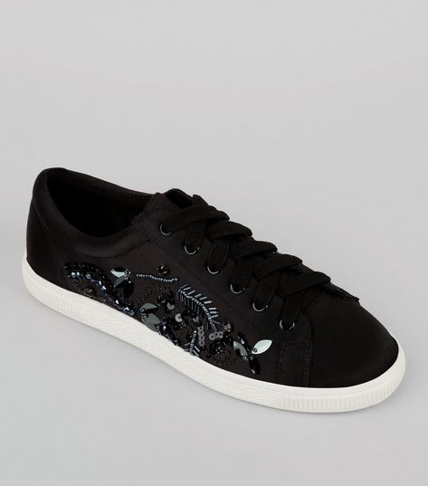 Black Satin Sequin Embellished Trainers | New Look
