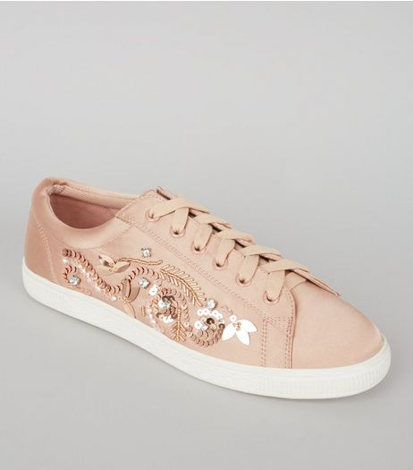 Nude Satin Sequin Embellished Trainers | New Look