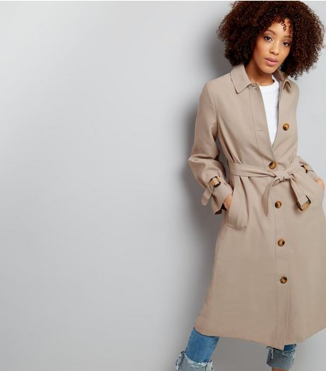 Stone Tie Waist Trench Coat  | New Look