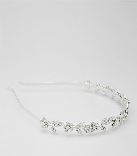 Silver Crystal Flower Headband | New Look