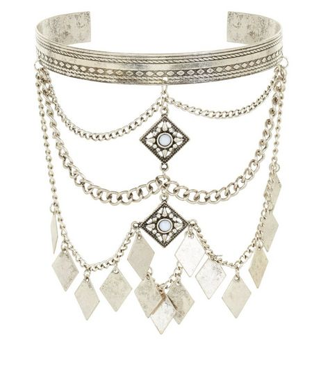 Silver Chain Drape Armcuff | New Look
