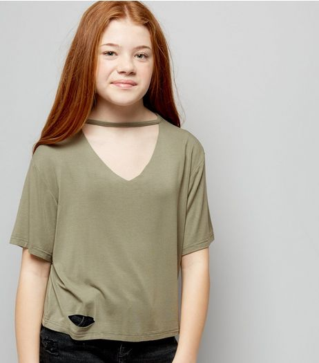 Teens Khaki Choker Neck T-Shirt | New Look