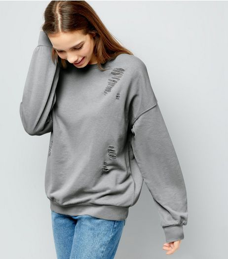 Pale Grey Ladder Ripped Sweater  | New Look