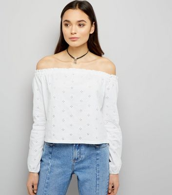 White Cut Out Broderie Trim Bardot Neck Top