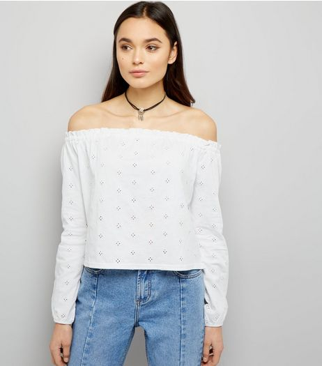 White Broderie Long Sleeve Bardot Neck Top | New Look