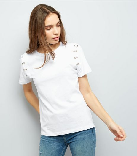 White Ring Trim Short Sleeve T-Shirt  | New Look