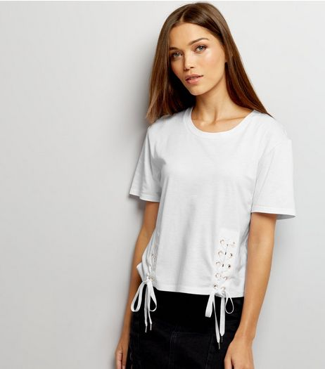White Eyelet Lace Up Hem T-Shirt | New Look