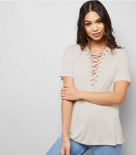 Shell Pink Washed Lattice Front Top | New Look