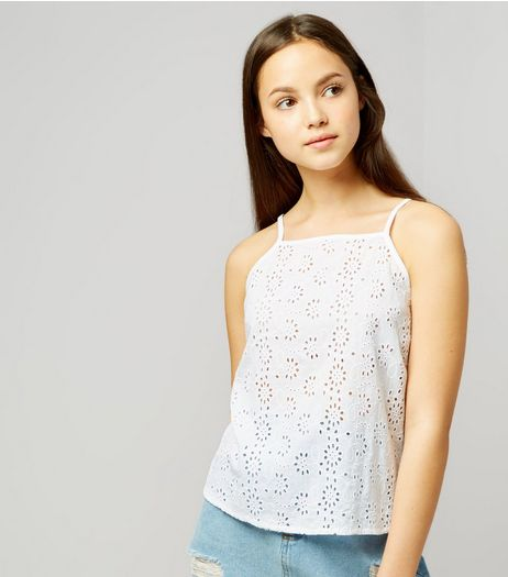 Teens White Broderie High Neck Cami | New Look
