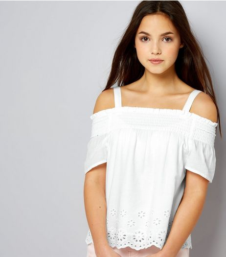 Teens White Broderie Shirred Bardot Neck Top | New Look