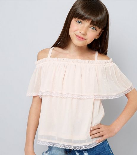 Teens Pink Lace Trim Tiered Cold Shoulder Top | New Look